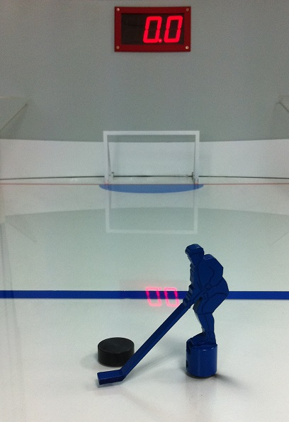 Eishockey-SpeedGame, Table-HockeySpeed, SpeedHockey, Tisch-Hockeyspeed, Fantainment Hockey-Simulator, Radarmessung, Km/H Tischhockey